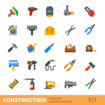 soldadura: Conjunto de construcción. Edificio grande conjunto de iconos vectoriales. Herramientas para la pintura, reparación, soldadura, carpintería en la nueva o vieja casa. Vector ilustración plana Vectores
