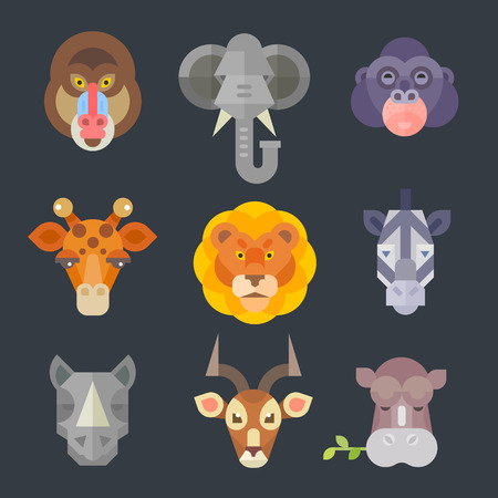 African animal icon color set. Exotic animals from warm countries: mammal, artiodactyls. Vector flat illustration African everyday. A woman with a bowl on head, boy with fruit in a plate. National houses, native animals. Vector flat illustration