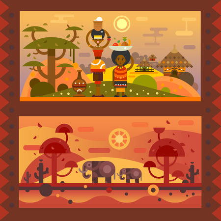 African everyday. A woman with a bowl on head, boy with fruit in a plate. National houses, native animals. Vector flat illustration Illustration