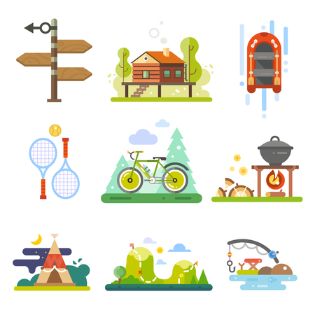 forest: Activities in the forest or leisure on nature. Rafting, tennis, bike, hiking or fishing. Vector icon flat set