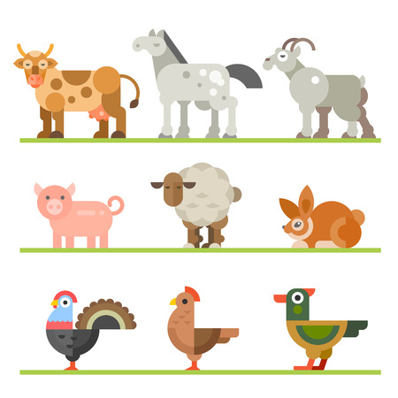 Animals for food. Birds and fish. Domestic and wild pets that eat by people. Vector flat illustration Stock Illustratie