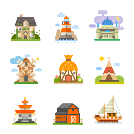Types of housing in different pieces of the world. Sea house-boat, forest house, traditional culture or classic. Vector flat icon set Vettoriali