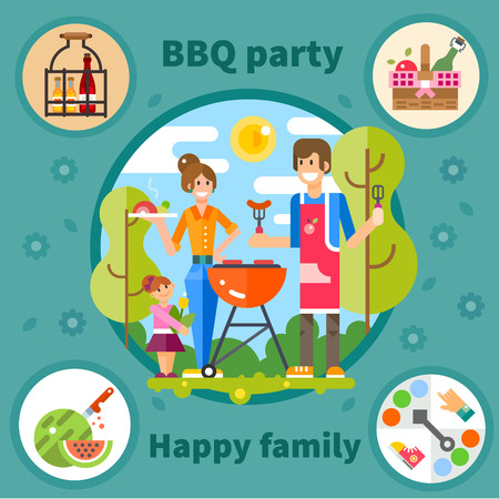 family holiday: Family holiday, outdoors, BBQ party. Weekend in happy family, cooking at the picnic. Vector flat illustration
