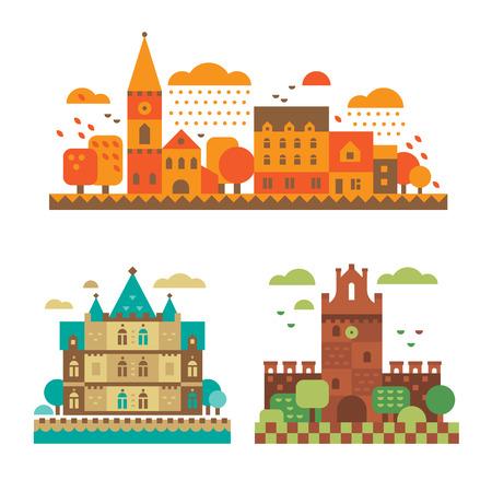 castello medievale: Castelli medievali in autunno. architettura europea sullo sfondo di paesaggi autunnali. Vector piatta illustrazione