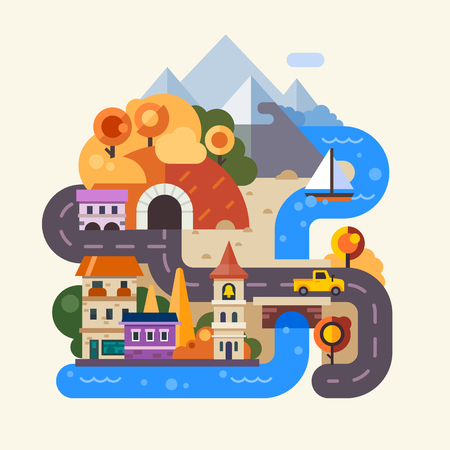 cartoon umbrella: Set of landscapes. Rainy autumn day in the city, street with houses, cars and people with umbrella. Rainbow after the rain in the countryside, mountains and fields. Vector flat Illustrations