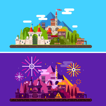 kingdoms: Magic landscape with ancient medieval castle in mountains. Day and night. Festival, carnival, fireworks, lights. Vector flat illustration