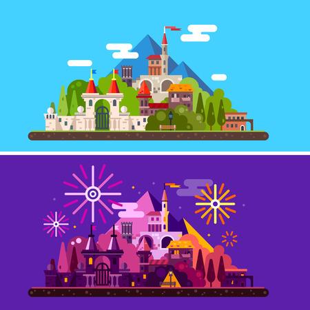 Paesaggio magico con antico castello medievale in montagna. Giorno e notte. Festival, carnevale, fuochi d'artificio, luci. Vector piatta illustrazione