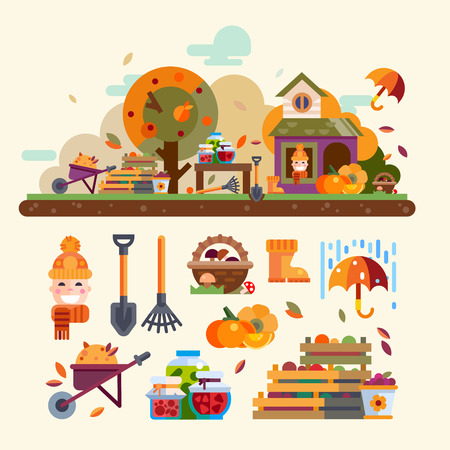 summer cartoon: Autumn landscape: harvest, house, tree with apples, pumpkin, rain and umbrella. bjects and tools for garden: basket of mushrooms, boxes of vegetables and fruit, rake, shovel. Vector flat illustration