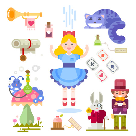 Alice in Wonderland. Fairy tale characters illustration. Characters people, playing cards, bottles, cat, mushroom, caterpillar. Vector flat illustrations Vettoriali