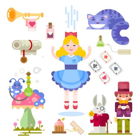 gato jugando: Alicia en el Pais de las Maravillas. Hada de personajes de cuento de ilustración. Personajes personas, jugando a las cartas, botellas, gato, seta, oruga. Vector ilustraciones planas