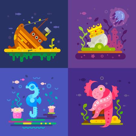 bottom of the sea: Sea life: a sunken ship, treasure at the bottom, octopus, fish, sea horse. Vector flat Illustrations Illustration