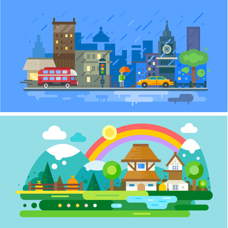 Autumn landscape. City on river embankment with autumn trees and stone houses. Mountains and forest. Vector flat illustration