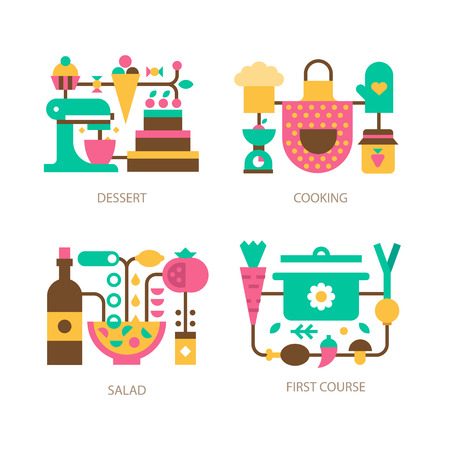 soup and salad: Cooking on the kitchen: all types of dishes. Vegetables for the soup, ingredients for the salad, delicious bakery, dessert and beverages. Vector flat icon and illustration set