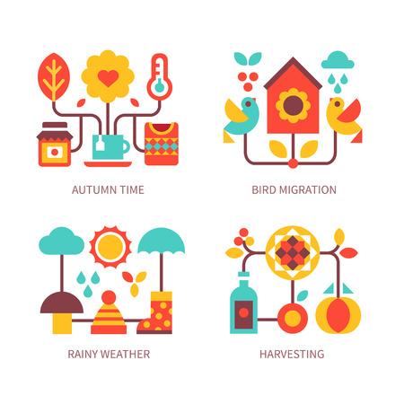 Herfst tijd: regenachtig weer, paraplu, wolk, warme kleding, het oogsten, koude temperatuur, vogeltrek. Vector flat icoon en illustratie set