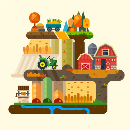 economy: Farm life: natural economy, agriculture, seeding, watering, autumn harvesting. Village landscapes with farm building, tractor, well, field, garden, trees. Vector flat illustration