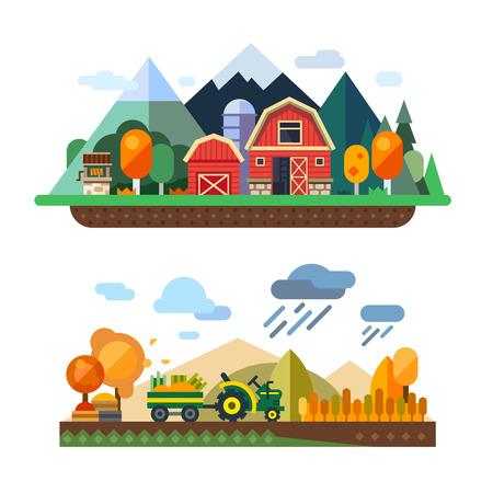 농장 생활 : 자연 경제, 농업, 가을 수확, 시골 생활, 산과 언덕 마을의 풍경. 필드 수확 트랙터. 벡터 평면 그림 일러스트