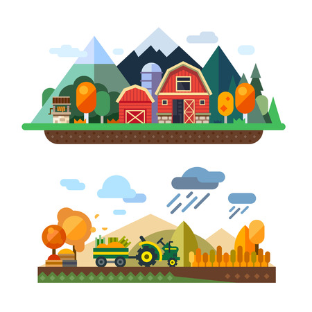 Vida de la granja: economía natural, la agricultura, la cosecha de otoño, la vida en el campo, los paisajes del pueblo con montañas y colinas. Tractor en las cosechas de campo. Vector ilustración plana