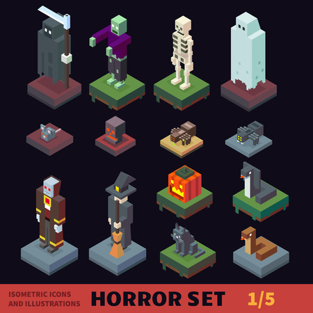Isometric horror vector flat illustration set.