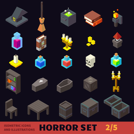 Isometric horror flat vector icon set Ilustracja
