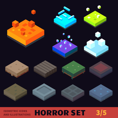 spooky graveyard: Isometric horror vector tile set.  Illustration