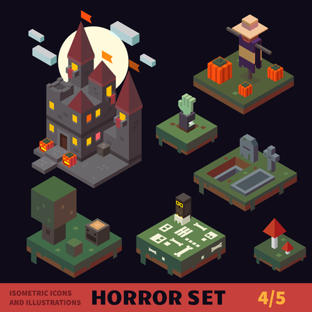 spooky graveyard: Isometric horror vector flat tiles and objects set.