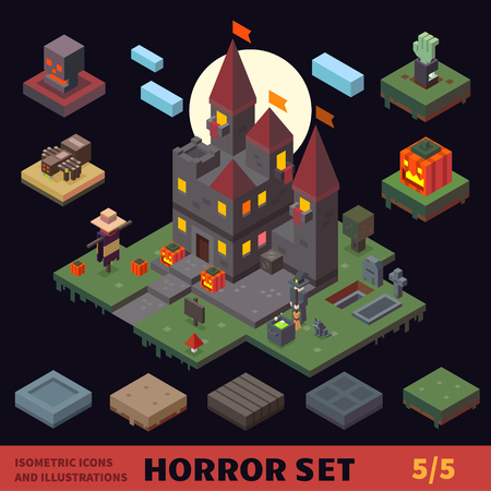 Isometric horror vector flat tiles and objects compilation.