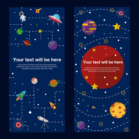 astronomic: Space theme banners and cards with flat astronomic symbols of planets, rocket, telescope for design, invitations and advertisement Illustration