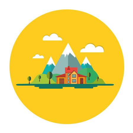 mills: Color flat icon set and illustrations urban and village landscapes: nature, mountains, lake, vacation, sun, trees, house, mills, field, city