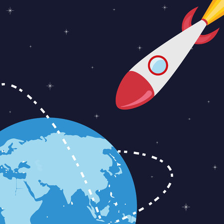 stars symbols: planet and rocket  Illustration