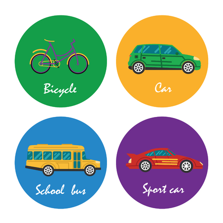 Road transportation icons set in illustration  Vettoriali
