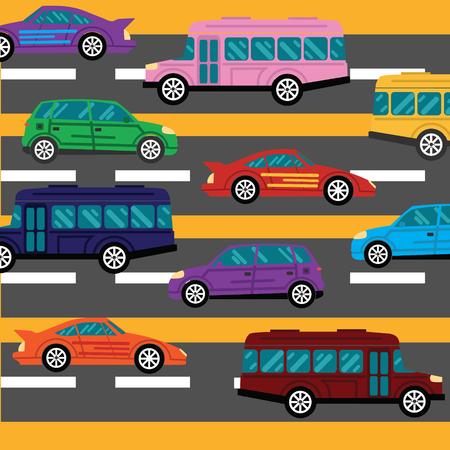 derrumbe: colapso carretera y los atascos de tr�fico de fondo con un mont�n de coches ilustraci�n vectorial plana Vectores