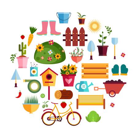 Spring Garden White flat icons. Design Vector Illustration. Set of Nature Gardening Tools Items. Illustration