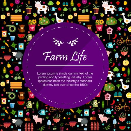 log basket: Vegetables and fruits dark banner Illustration Illustration