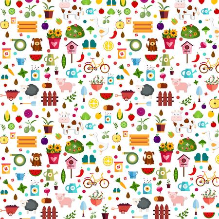 log basket: Vegetables and fruits background Illustration Illustration