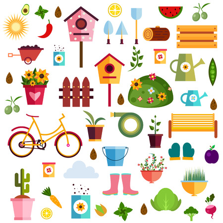 log basket: Garden pattern nature flat Illustration