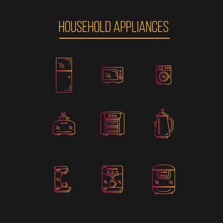 double oven: Kitchen Appliances icons set gradient