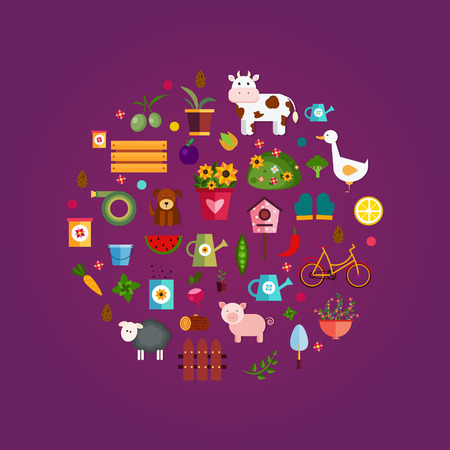 log basket: Vector set icons, purple background Illustration