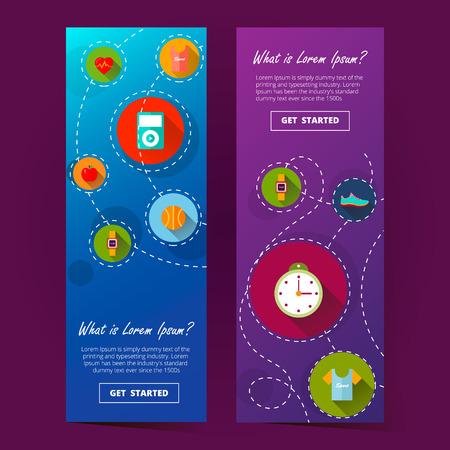 due banner verticale ilustration purpleand blu