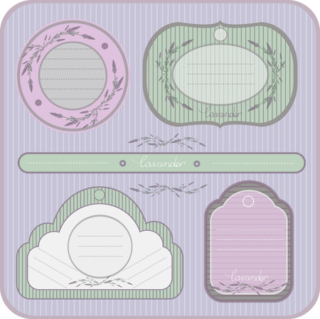vector color picture labels, Provence, lavender Vector