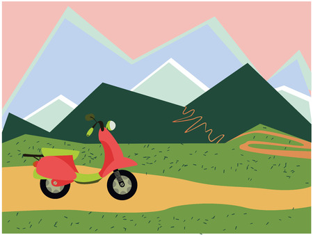 moped: color vector image moped and mountains Illustration