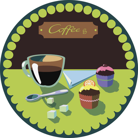 Vector picture with coffee and muffins for design Vector