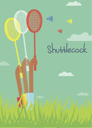 Colored picture with summer mood, playing badminton Vector