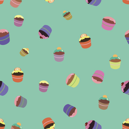 color vector picture, pattern with bright cupcakes