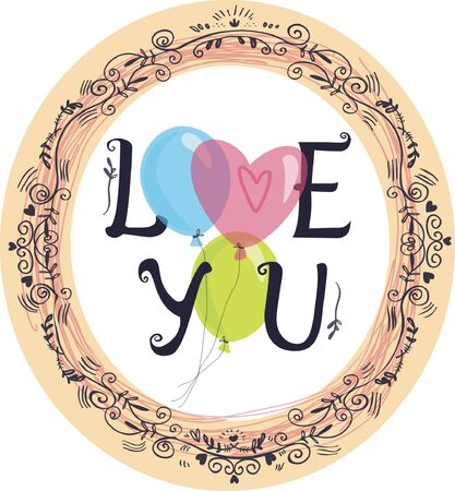 love image: color vector image with balloons and the words love you