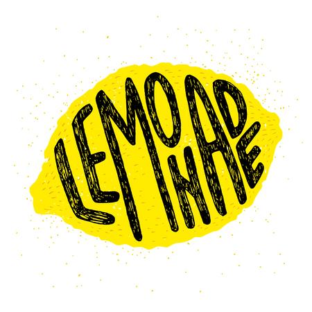 lemon: Dibujado a mano cartel de la tipograf�a, tarjetas de felicitaci�n o invitaci�n de impresi�n con la silueta del lim�n y de la palabra en ella. Letras de la mano 'Lemonade'. Vectores
