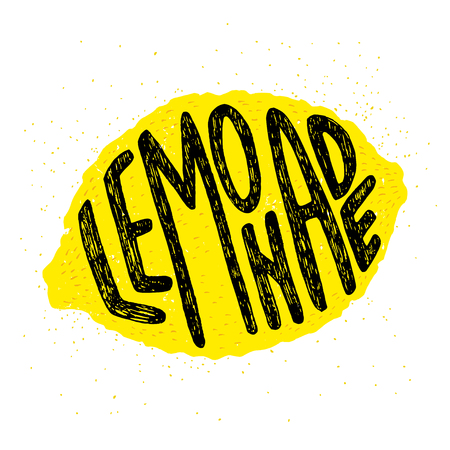 Hand drawn typography poster, greeting card or print invitation with lemon silhouette and word in it. 'Lemonade' hand lettering.
