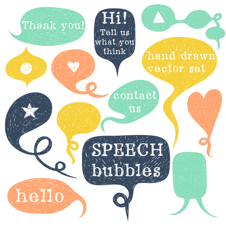 hand drawing: Big set of hand drawn speech bubbles isolated on white background. Doodle cartoon comic bubbles.