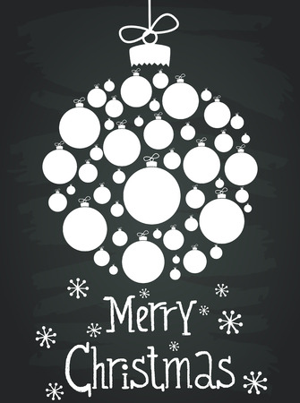 holiday invitation: Holiday invitation or greeting card template with christmas bauble made of white christmas balls and hand drawn lettering. Cute winter poster on chalkboard background.