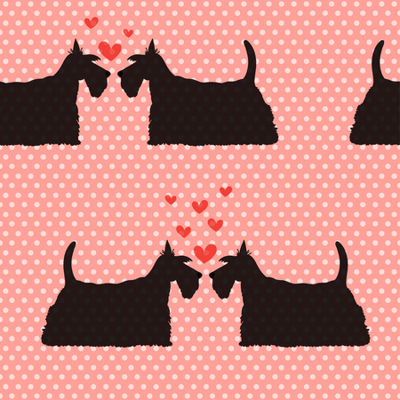 scottie: Seamless pattern with cartoon dogs silhouettes on polka dot background. Cute and lovely scottish terrier couples with hearts. Valentine background design.