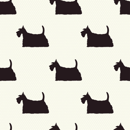 scottie: Seamless pattern with dog silhouettes on polka dot background. Scottish terrier. Vector background.